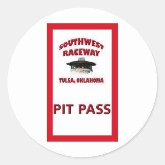 Southwest Raceway Pit Pass Classic Round Sticker