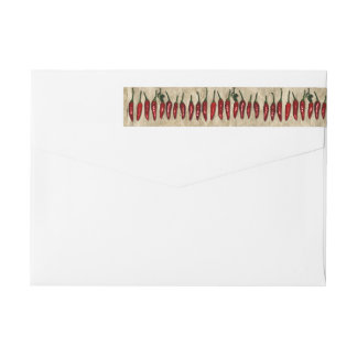 Southwest Red Hot Chili Peppers Old Paper Custom Wrap Around Label