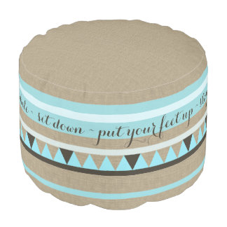 Southwest Rustic Welcome Text Design Round Pouf