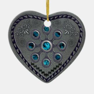 southwest silver heart ceramic ornament