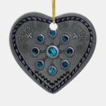 southwest silver heart christmas tree ornaments