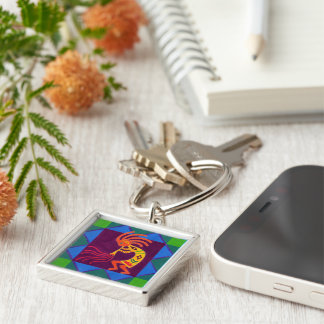 Southwest Sing-along: Kokopelli on Flute Silver-Colored Square Keychain