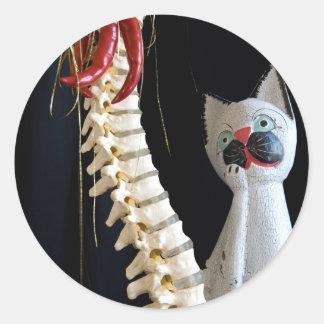 Southwest Spine Skeleton Chili Pepper Cat Classic Round Sticker