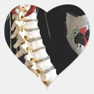Southwest Spine Skeleton Chili Pepper Cat Heart Sticker