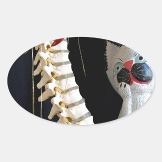 Southwest Spine Skeleton Chili Pepper Cat Oval Sticker