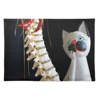 Southwest Spine Skeleton Chili Pepper Cat Placemat