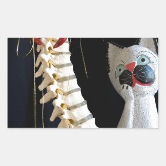 Southwest Spine Skeleton Chili Pepper Cat Rectangular Sticker