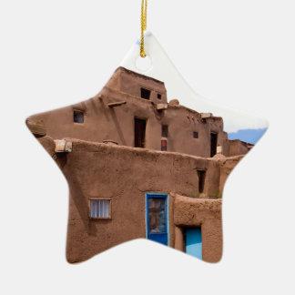 Southwest Taos Adobe Pueblo House New Mexico Ceramic Ornament