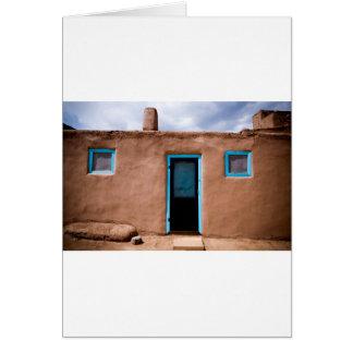 Southwest Taos Adobe Pueblo House Turquoise Door Card