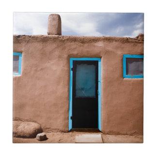 Southwest Taos Adobe Pueblo House Turquoise Door Ceramic Tile