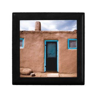 Southwest Taos Adobe Pueblo House Turquoise Door Gift Box