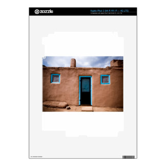 Southwest Taos Adobe Pueblo House Turquoise Door iPad 3 Decals