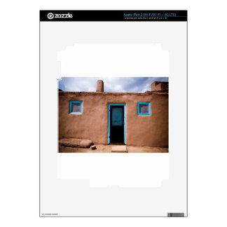 Southwest Taos Adobe Pueblo House Turquoise Door iPad 3 Decals