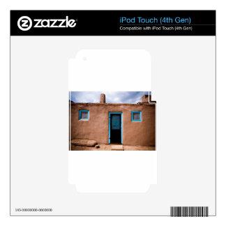 Southwest Taos Adobe Pueblo House Turquoise Door iPod Touch 4G Skin