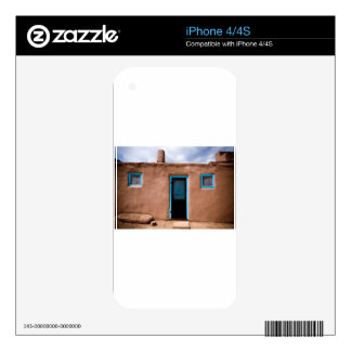 Southwest Taos Adobe Pueblo House Turquoise Door Skins For iPhone 4