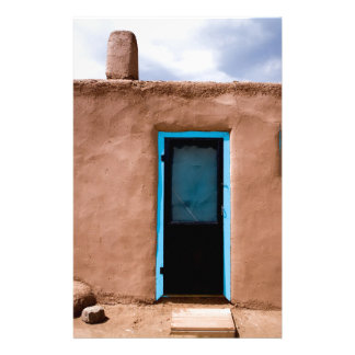 Southwest Taos Adobe Pueblo House Turquoise Door Stationery