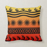 Southwest Tribal Desert Sun Cactus Kokopelli Throw Pillow