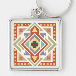Southwest Tribal Geometric Pattern Keychain