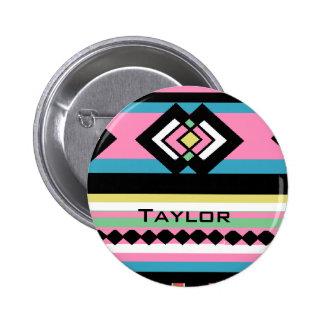 Southwest Tribal Geometric Pink Pinback Buttons