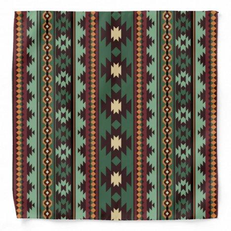 Southwest tribal green brown bandana