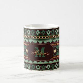 Southwest tribal green brown coffee mug