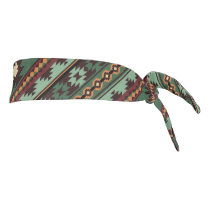 Southwest tribal green brown tie headband