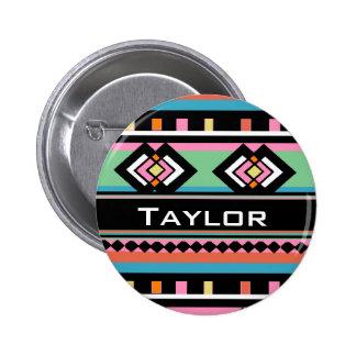 Southwest Tribal Green Geometric Pinback Button