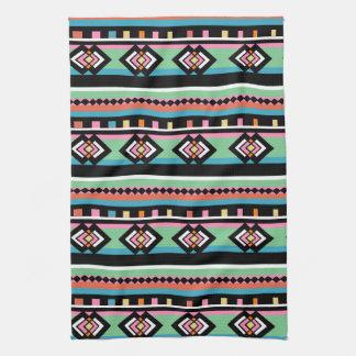 Southwest Tribal Green Geometric Towels