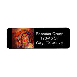 Southwest  Tribal Native American Indian Chief Label