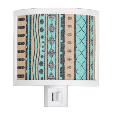 Aztec Themed Southwest Tribal Pattern Peach And Turquoise Night Light