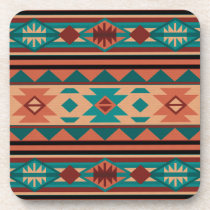 Southwest Tribal Pattern Turquoise Terracotta Beverage Coaster