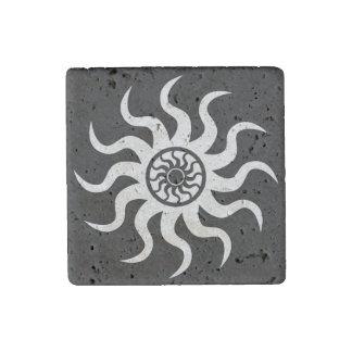 Southwest Tribal Sun Rustic Travertine Magnet Stone Magnet