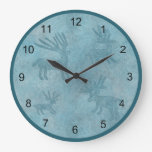 Southwest Turquoise Deer Petroglyph Design Large Clock