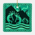 Southwest Turquoise Kokopelli Christmas Ceramic Ornament