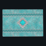 "Southwest Turquoise Placemat<br><div class=""desc"">Inspired by the beautiful Turquoise &quot;Sky Stone&quot; mined in the Southwest,  this original design features a turquoise and silver-grey geometric patterns. All designs created and copyrighted by Artellus. Do Not Copy!</div>"