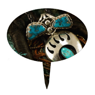 Southwest Turquoise Ring Bolo Tie Blue Green Cake Topper