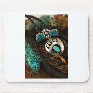 Southwest Turquoise Ring Bolo Tie Blue Green Mouse Pad