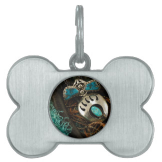 Southwest Turquoise Ring Bolo Tie Blue Green Pet Name Tag
