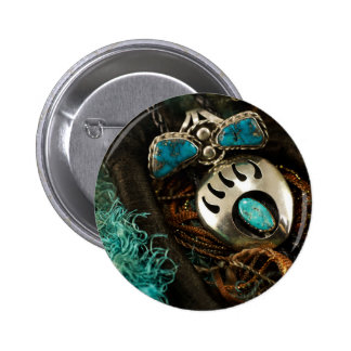 Southwest Turquoise Ring Bolo Tie Blue Green Pinback Button