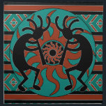 "Southwest Turquoise Tribal Sun Kokopelli Cloth Napkin<br><div class=""desc"">Kokopelli southwest dinner napkins. For more southwest home decor visit the rest of this shop!</div>"