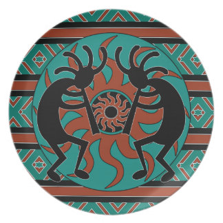 Southwest Turquoise Tribal Sun Kokopelli Dinner Plate