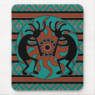 machomedesigns Southwest Turquoise Tribal Sun Kokopelli Mouse Pad