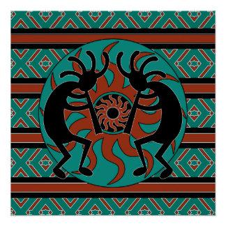 Southwest Turquoise Tribal Sun Kokopelli Poster