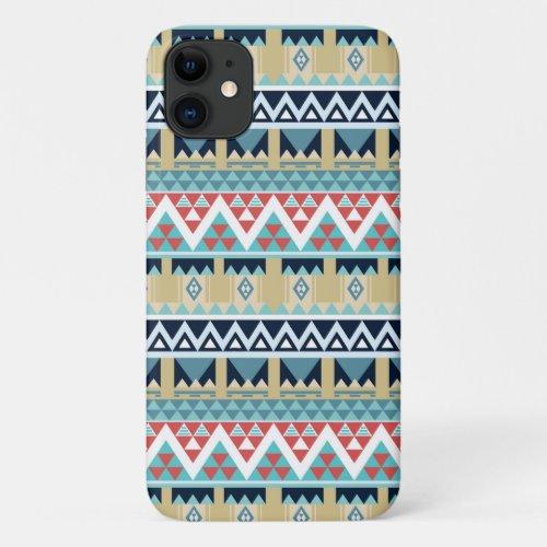 Southwest Vacation Tribal Mosaic Pattern Turquoise iPhone 11 Case