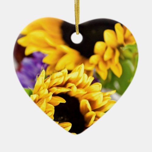 Southwest Yellow Sunflower Ceramic Ornament