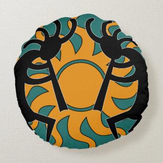 Southwest Yellow Turquoise Tribal Sun Kokopelli Round Pillow