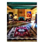 Southwestern Adobe Fireplace Room Hard Wood Floors Post Card