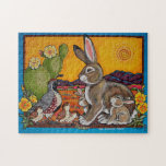 """Southwestern Animals Wildlife Rabbit Quail Puzzle<br><div class=""""desc"""">My original,  copyrighted painting,  &quot;The Morning News&quot;,  will be a challenging puzzle with bright colors and patterns.</div>"""