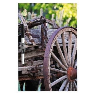 Southwestern Antique Wagon Wheel Cactus Dry-Erase Board
