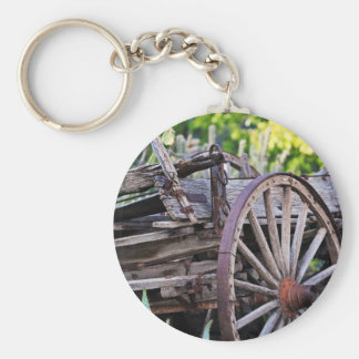 Southwestern Antique Wagon Wheel Cactus Keychain